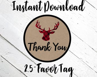 """Red Plaid and Deer Favor Tag 2.5"""", Red Buffalo Plaid, INSTANT DOWNLOAD, printable, Prints 12 on a page"""