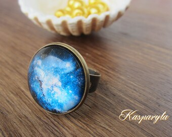 Bronze ring with deep blue galaxy lens 20 mm