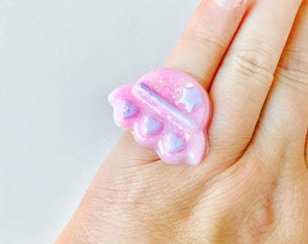 Pastel Goth Pink Holographic Spaceship Resin Adjustable Ring