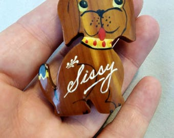 1940s Sissy Wooden Figural Dog Brooch Hand Painted Puppy Brooch