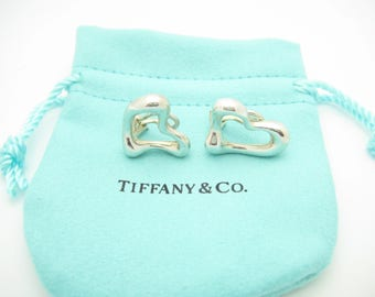 Tiffany & Co. Sterling Silver Elsa Peretti Open Heart Clip On Earrings - Pouch