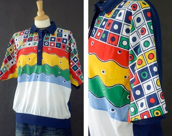 Vintage Color Block Short Sleeve Shirt, Bright Colors Shirt, Urban Streetwear Shirt, Wearable Art Shirt, Primary Colors, Unisex Size Medium