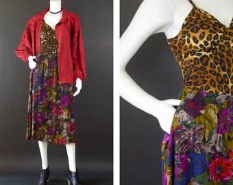 Vintage High Waisted Midi Skirt, Dark Abstact Grunge Floral Skirt, Elastic Waist Pleated Skirt, Large Pattern Skirt, Women's Size Small