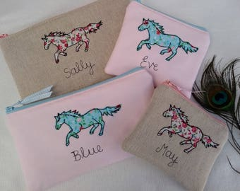 Handmade Personalised Coin/Card Purse Wallet or Pencil Case Horse Design with choice of colour size name floral lining Party Bag Filler Gift