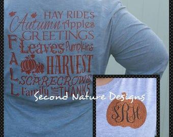 Monogrammed Fall Subway Word Art T-Shirt / Women's Fall Monogrammed Shirt / Pumpkin Monogram Shirt