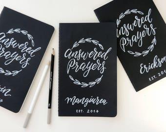 Personalized Journal, Answered Prayers Journal, Family prayer Journal, Christian gift, anniversary gift, wedding keepsake journal