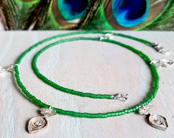Silver Antique Charm And Green Beaded Necklace
