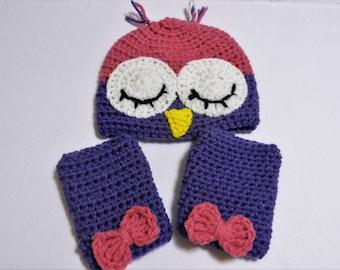 Crocheted Sleepy Owl Baby Hat & Leg Warmers 6 month old