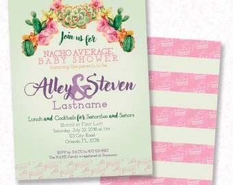 Fiesta Cactus BABY SHOWER Invitation, Customized - PDF - Fiesta, Cinco De Mayo, Mexican, Cactus, Boho Theme