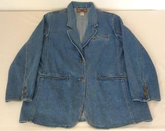 Baccini Womens M Vintage Blue Denim Blazer Rivet Button Shoulder Pad