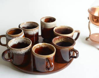 Vintage Mixed Collection Drip Glaze Mugs Set of Seven (7) Brown Drip Glaze Coffee Cups Set Mid Century Modern Coffee Cups Lodge Cabin Mugs
