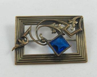 Uncleaned Art Nouveau Brass Blue Glass Sash Pin - C Clasp