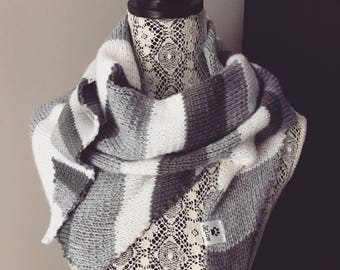 Shades of Gray and White, Uneven Striped Cotton Shawl