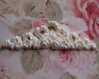 New! Rose Floral Bow Center Architectural Pediment Furniture Applique Onlay