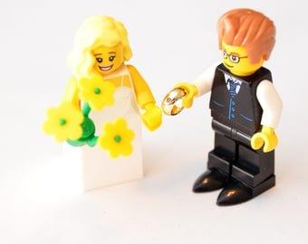 Custom Lego Minifigure Bridal Couple Wedding Bride Groom