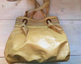 Yellow Canvas Fossil Shoulder Bag