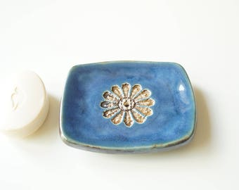 Draining Soap Dish, Blue Soap Dish, Rectangle Soap Dish, Ceramic Soap Dish, Soap Holder, Bathroom Accessory, Soap Tray, Handmade Soap Dish