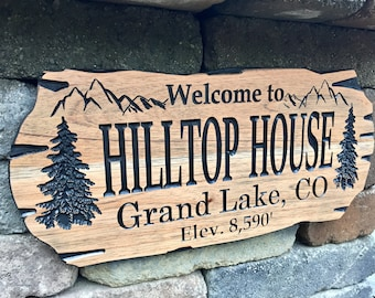 Outdoor Signs, Wooden Carved Cabin Sign, Pine Trees, Camp Sign, Custom Wood Sign, Cabin Sign, Mountain Home, Benchmark Signs and Gifts
