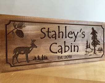 Personalized Cabin Sign, Wooden Carved signs, Custom Gifts, Rustic Decor, Outdoor signs, Camping Signs, Camp signs, Deer , Signs for outside