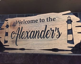 Custom Lakehouse Sign, Rot Resistant, Wooden Carved Sign, Lighthouse, Lake Sign, Boating, Lakehouse Sign, Cottage Sign, Marina, Light House