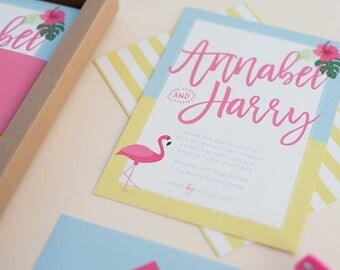 SAMPLE - Boxed Destination Wedding Invitation. Beach Wedding Stationery. Sunshine, Watermelon and Flamingos.