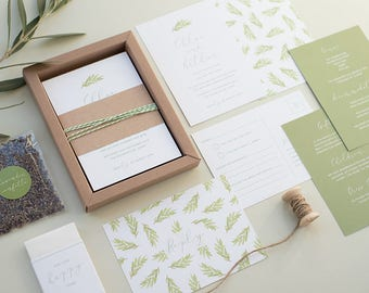 SAMPLE - Rustic Boxed Wedding Invitation. Simple, Foliage Wedding Stationery. Green Leaf Pattern. Personalised.