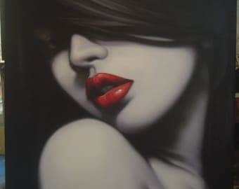 """Lady black and white painting oil painting on canvas 40""""X40"""""""