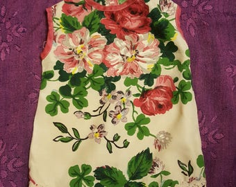 Charming vintage size 3T lightweight tunic in cream with design of cascading pink flowers on front and back is perfect for summer weather