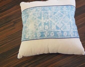 Indigo batik hemp cushion european size