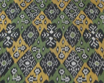 Handwoven 100% Cotton Ikat; Green, Yellow, Black, Gray Patchwork; Yardage