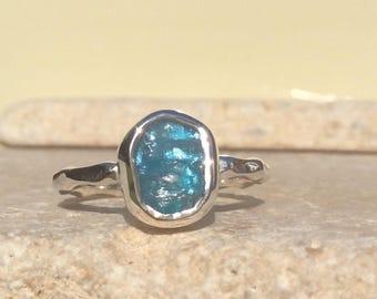 Raw Apatite Silver Ring, US 6.75, Raw Stone Ring, Apatite Ring, Rough Gemstone Ring, Natural Gemstone Silver Ring