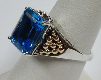 Natural Blue Topaz Ring 925 Sterling Silver with Solid 14kt Yellow Gold