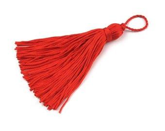 10 Red tassel, 8/12 cm 100% rayon tassel