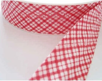 Red and white gingham bias 3 meters
