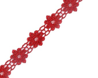 Guipure lace flowers red point 20 mm Venetian lace