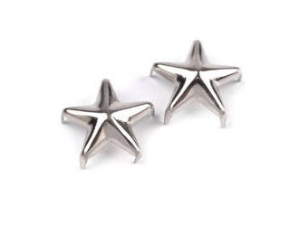 50 rivets studs 10 mm silver metal stars