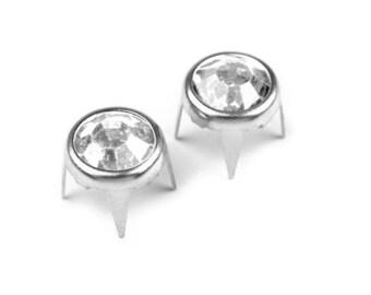 10 rivets studs rhinestone clear silver 8 mm