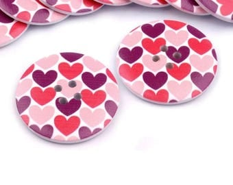 4 wood buttons 38 mm pink heart