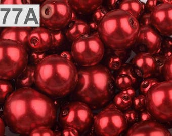 A 77-100 g of 4-12 mm glass pearl beads different sizes