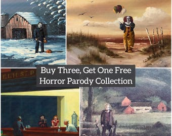 Horror Movie Parody Print Collection - Print Poster Canvas - Repurposed Thrift Art - Michael Myers Friday the 13th Nightmare on Elm IT Clown