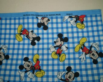 GETTING HTF.. Mickey Mouse favorite poses on blue and white checks. Cotton by Springs.