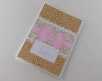 Personalized Photo Album Grandmas Brag Book Baby Photo Album Girl Photo Album PRINTED Burlap Lace Satin Pink Bow 4x6 or 5x7 Pink Lace 672