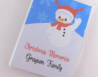 Christmas Photo Album Snowman Baby girl Boy personalized Family brag Book 4x6 or 5x7 picture My First Christmas Recipe Card Book 696