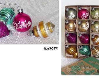 Lot of 1 Dozen Fancy Shiny Brite Vintage Glass Christmas Ornaments (Inventory #CH1038)