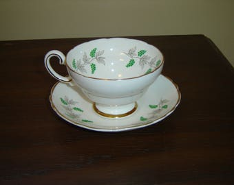 Crown Staffordshire grape vine cup and saucer near mint condition