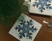 Ceramic Tile Coasters - Blue Snowflake