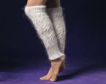Leg warmers, handmade, hand knitted, white,goat yarn