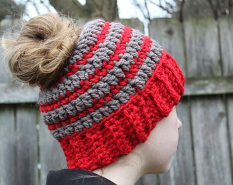 RTS Messy Bun Hat, Ohio State Buckeyes, Grey and Red Ponytail Beanie, Ready to Ship, Gray Red Crochet Messy Bun Beanie, Knit Pony tail Hat