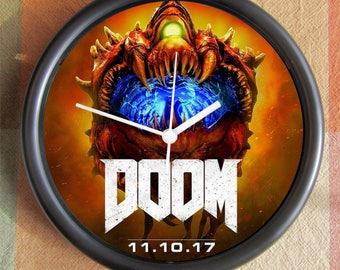 DOOM 2017  Big 10 inch black wall clock clock town  Ships Tomorrow