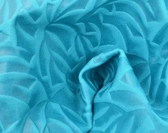 """Blue Etched Leaves Leather Cow Hide 12"""" x 12"""" Pre-cut 2 oz TA-58133 (Sec. 6,Shelf 3,D)"""
